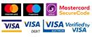 Payment cards Visa, Visa Debit, Maestro, MasterCard, MasterCard SecureCode Verified by Visa